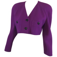 Valentino Purple Cropped Vintage Bolero Jacket
