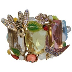 Philippe Ferrandis Crystal and Glass Tropical Cuff Bracelet