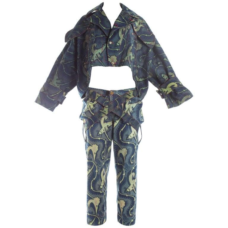 Vivienne Westwood cotton cropped jacket and bondage pant suit, S / S 1993
