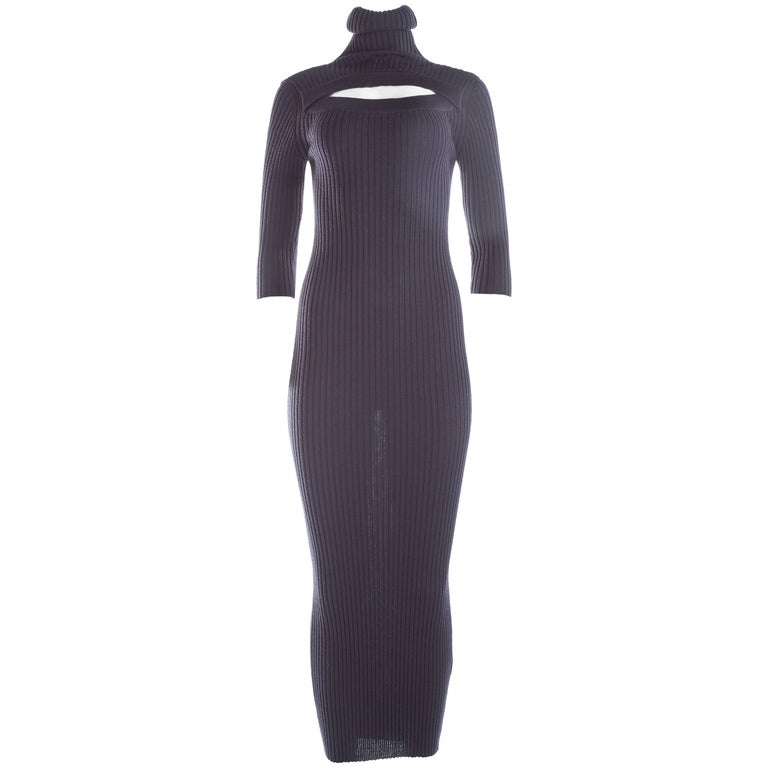 Jean Paul Gaultier ribbed knit bodycon maxi dress, c. 1990s For Sale