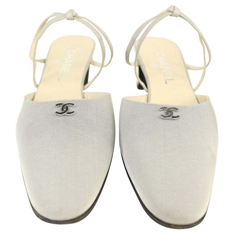 "Chanel ""CC"" Silver and Grey with Leather Strap Sandals Heels."