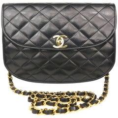 Chanel Semi-Circle Black Quilted Lamb Leather Paris Limited Edition Shoulder Bag