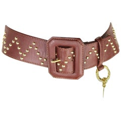 Yves Saint Laurent Brown Leather Gold Toned Studs with Gold Heart Charm Belt