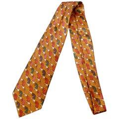 Burberry's Copper Silk Equestrian Theme Silk Necktie circa 1990s