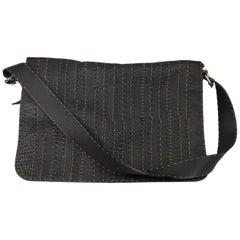 FENDI SELLERIA Black Leather Large Flap Messenger Bag