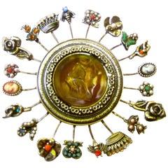 Massive Circular Medallion Lucite Intaglio Brooch circa 1970s