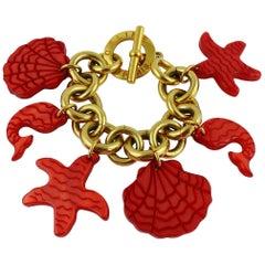 Celine Paris Vintage 1992 Sea Life Charms Bracelet