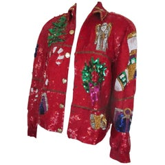 xmas sequined bomber jacket