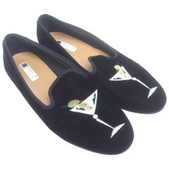 Black Velvet Embroidered Womens' Martini Glass Slipper Shoes US Size 10 M