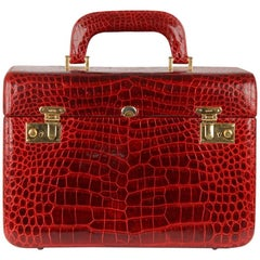 Gucci Vintage Burgundy Crocodile Beauty Travel Bag Train Case