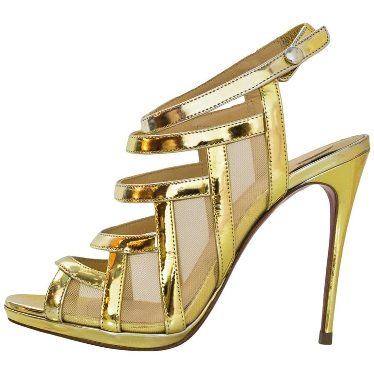 Christian Louboutin Gold Nicole 120 Sandals Sz 36.5 NEW