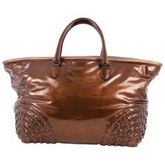 Bottega Veneta Open Tote Patent with Intrecciato Detail Large