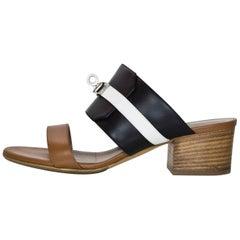 Hermes Tri-Color Palissandre Leather Ovation Kelly Lock Sandals Sz 36