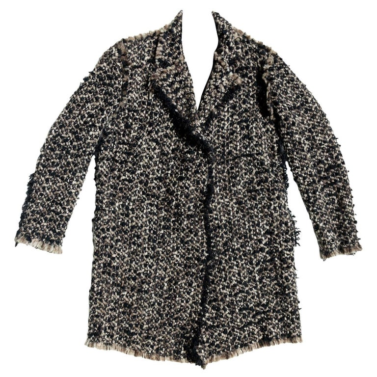 Lanvin Brown Multicolor Knit Overcoat