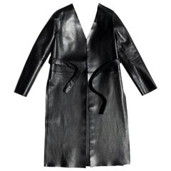 Maison Martin Margiela Black Collarless Lamb Leather Coat