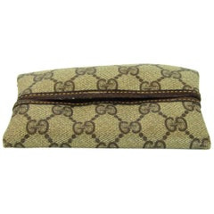 Gucci Vintage Tan Monogram Supreme Tissue Holder