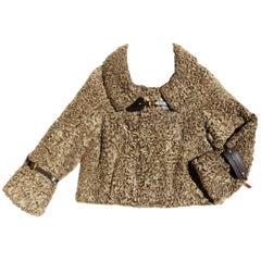 Gucci Cropped Brown Persian Lamb Jacket