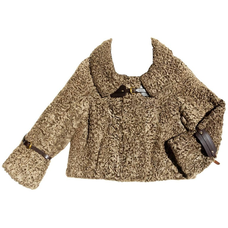 Gucci Cropped Brown Persian Lamb Jacket For Sale
