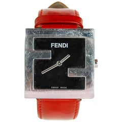 Fendi Red Patent Leather Logo Watch