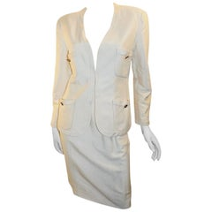 Chanel ivory silk  CC logo buttons summer skirt suit