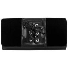 Perrin Black Velvet & Calfskin Le Corset Glove Clutch Bag w. Dust Bag rt. $1,200