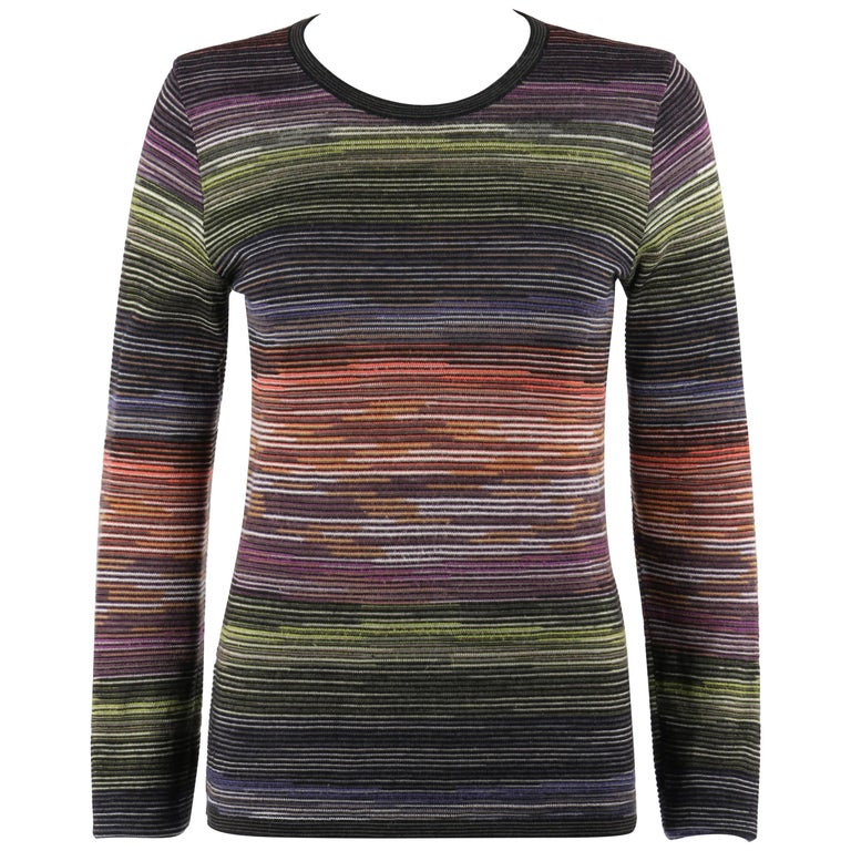 MISSONI Sport Rainbow Striped Wool Knit Long Sleeve Crew Neck Top