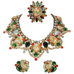 1960's Juliana Easter Egg Colorful Bib-Necklace Earrings Brooch Parure Set