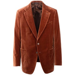 Tom Ford Orange Velvet Unfinished Hem Shelton Sport Jacket