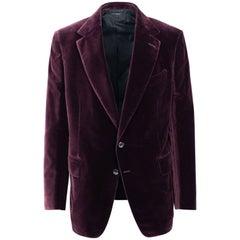 Tom Ford Burgundy Velvet Welted Pockets Shelton Sport Jacket Sz56R/46R RTL$3440