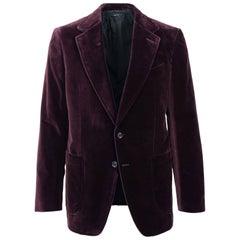 Tom Ford Burgundy Velvet Unfinished Hem Shelton Sport Jacket Sz54L/44L RTL$3440