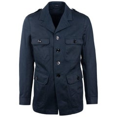 Tom Ford Men's Blue Cotton Four Pocket Utility Jacket
