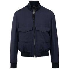 Tom Ford Men Blue Wool Blend Cavalry Bomber Jacket Sz 52/42~RTL $3690