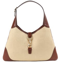 "GUCCI ""Jackie O Bouvier"" Cream Canvas & Brown Leather Hobo Shoulder Bag"