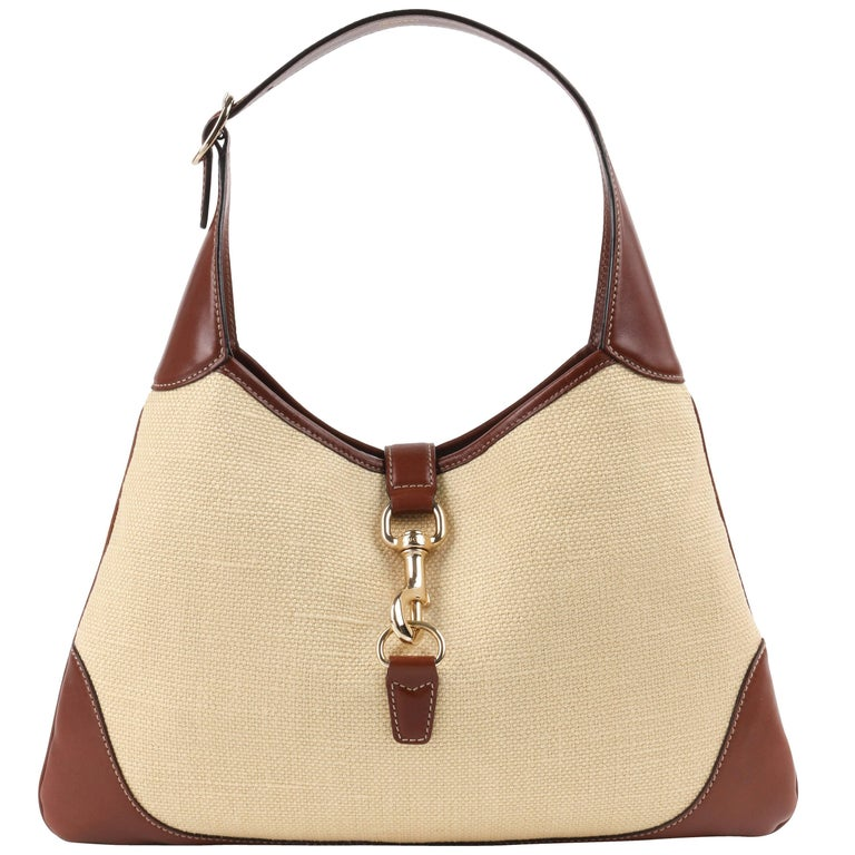 Gucci Jackie O Bouvier Cream Canvas Brown Leather Hobo Shoulder Bag