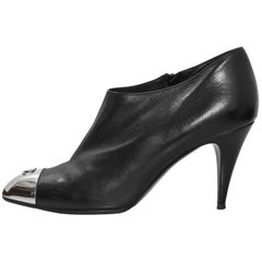 Chanel Black Leather & Silver Cap-Toe Booties Sz 40