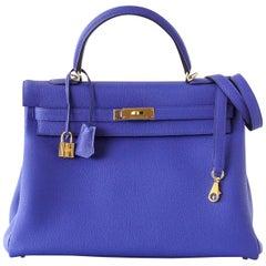 Hermes Retourne Blue Electric GWH Togo Kelly 35 Bag