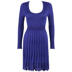 MISSONI Royal Blue Wool Rib Knit Long Sleeve Pleated Shift Dress