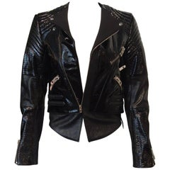 Balenciaga Black Patent Leather Textured Zippered Motorcycle Jacket