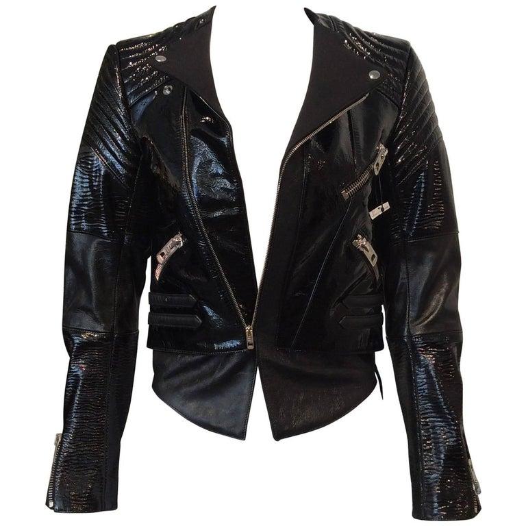 Balenciaga Black Patent Leather Textured Zippered Motorcycle Jacket