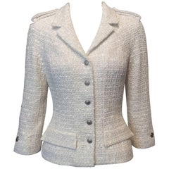 Chanel Cream and Silver Accented Tweed Jacket With Silver Buttons Sz38/Us6