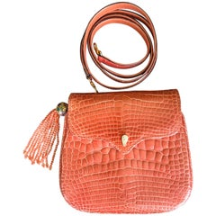 Lana of London Exquisite Orange Crocodile Evening Bag with Coral Bead Strap
