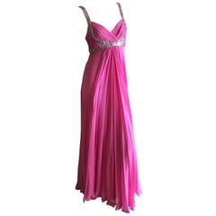 Marchesa Notte Silver Sequin Accented Pink Grecian Gown