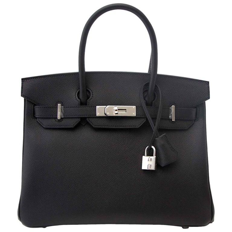 Brand New Hermes Birkin 30 Black Epsom PHW