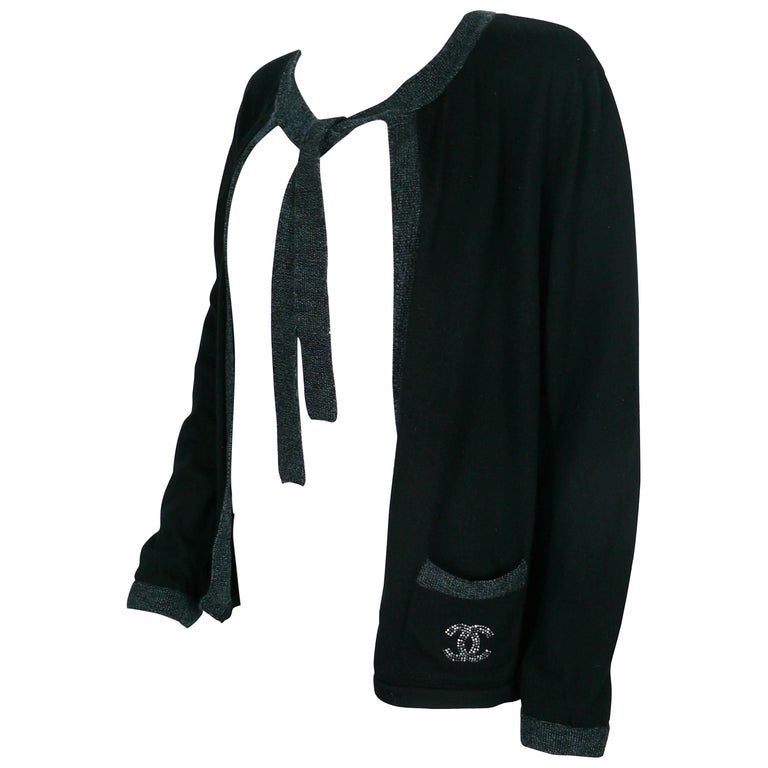 Chanel Employee Uniform Black Wool Cardigan with CC Logo Size XL For Sale