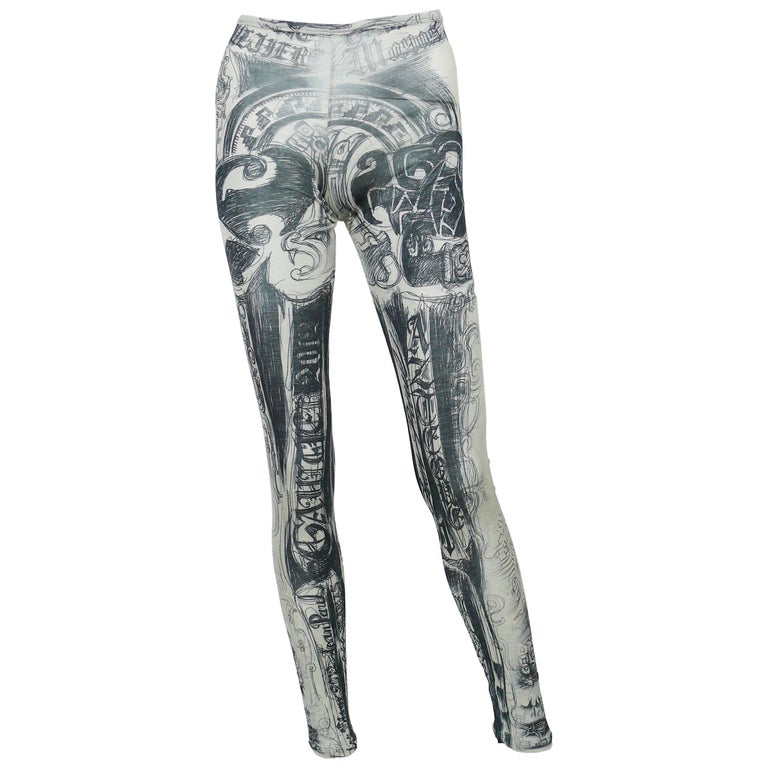 Jean Paul Gaultier Mayas Tattoo Print Leggings Size L