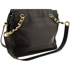 CHANEL Caviar Triple CC Chain Shoulder Bag Black Gold Hw Zipper
