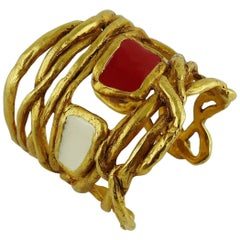 Christian Lacroix Vintage Gold Tone Wired Cuff Bracelet with Red White Enamel