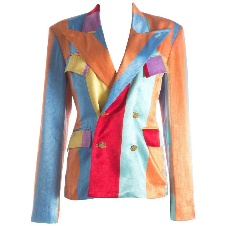 Vivienne Westwood unisex multicoloured striped satin evening jacket  S/S 1993