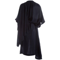 Comme des Garcons indigo linen oversized draped dress, S / S 1984