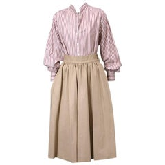 Yves Saint Laurent Khaki Cotton Twill Skirt